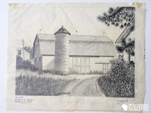 pencil sketch of barn