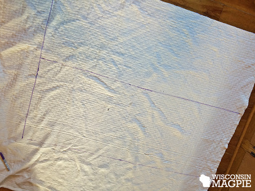 cutting bedspread into pillowcases