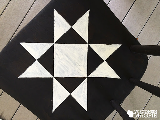 Ohio Star quilt square design on chair seat