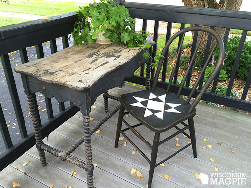 distressed Ohio Star quilt square chair