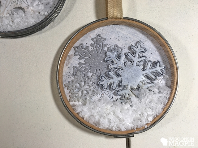 Embroidery hoop made into a snow globe by Wisconsin Magpie