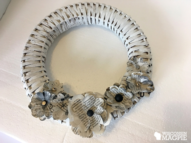white wicker newspaper wreath