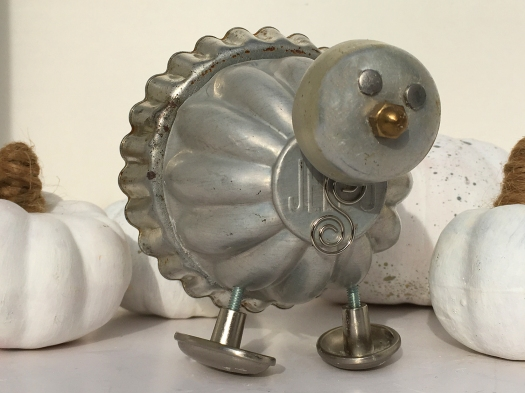 photo of junk turkey made of an old Jell-O mold and orphaned drawer pulls