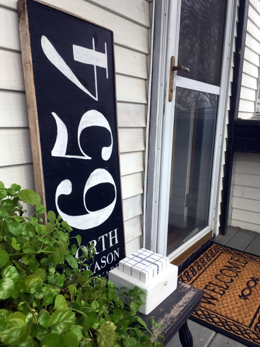 Black and white chalk-painted address sign by Wisconsin Magpie